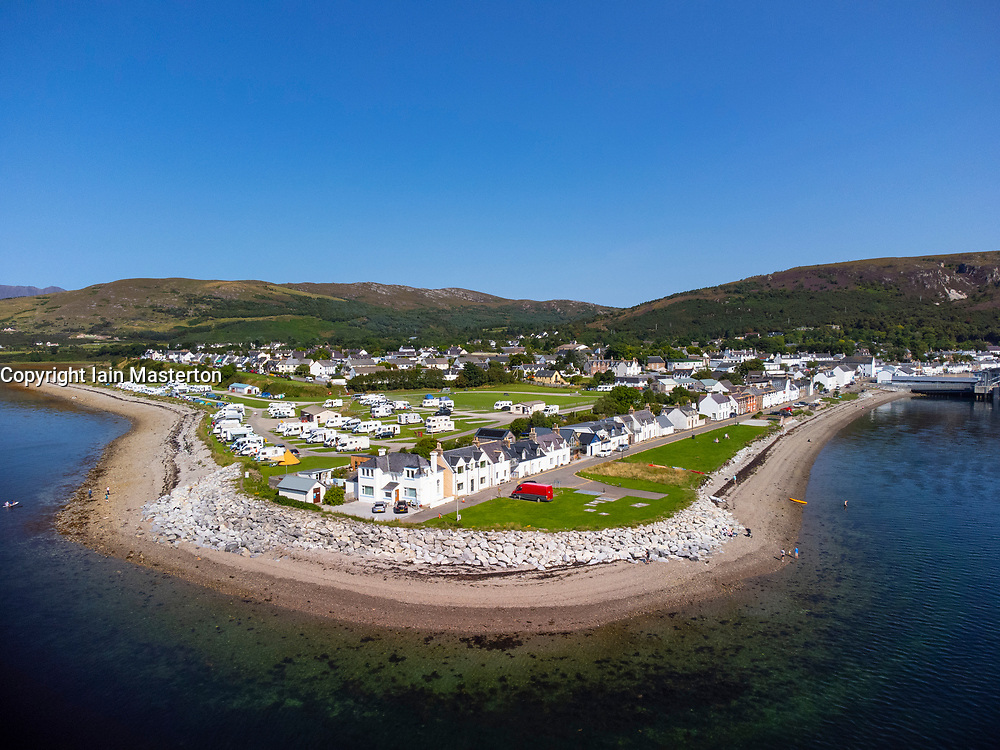 Aerial view from drone of town of Ullapool, Ross and Cromarty, Highland Region, Scotland, Uk