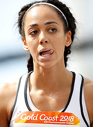 England's Katarina Johnson-Thompson reacts after failing to clear the bar during the High Jump element of the Women's Heptathlon, at the Carrara Stadium during day eight of the 2018 Commonwealth Games in the Gold Coast, Australia.