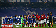 Teams greet each other during the The FA Cup 5th round match between Chelsea and Manchester United at Stamford Bridge, London, England on 18 February 2019.