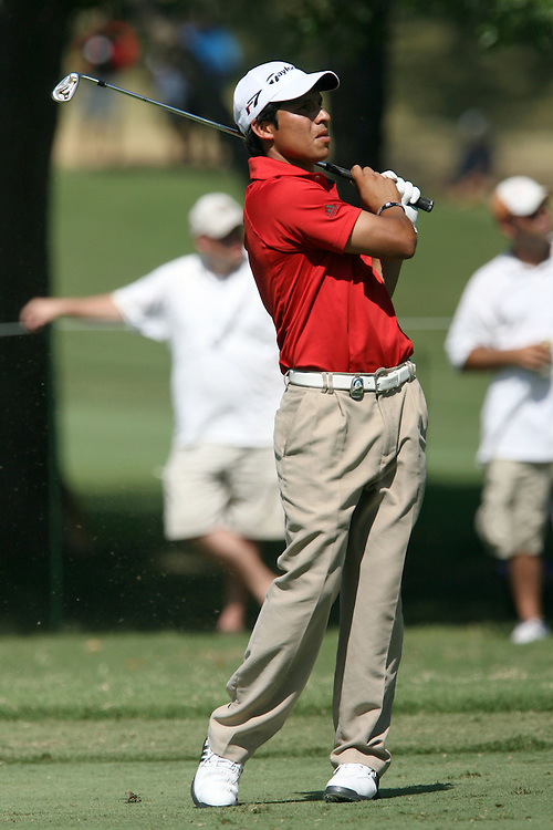 09 August 2007: Andres Romero observes his shot on the 9th hole during the first round of the 89th PGA Championship at Southern Hills Country Club in Tulsa, OK.