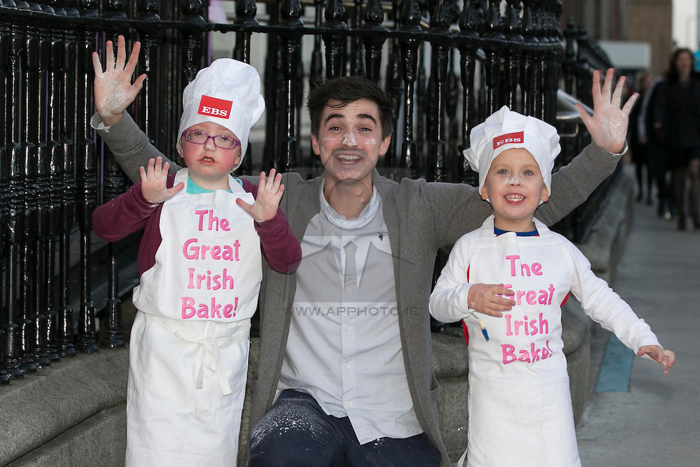 Repro Free: 20/02/2013 Temple Street patient Amy McDonagh, age 7 from Loughrea , Co Galway pictured with kitchen hero and home cook Donal Skehan and Dylan Doyle, age 4 from Ballymun, Dublin.   The children are helping to launch the Great Irish Bake, proudly supported by EBS. This important fundraising driving is calling all baking enthusiasts across the nation to dust off their cake tins and hold a bake sale at home, in school or at work and help raise funds for Temple Street. Picture Andres Poveda