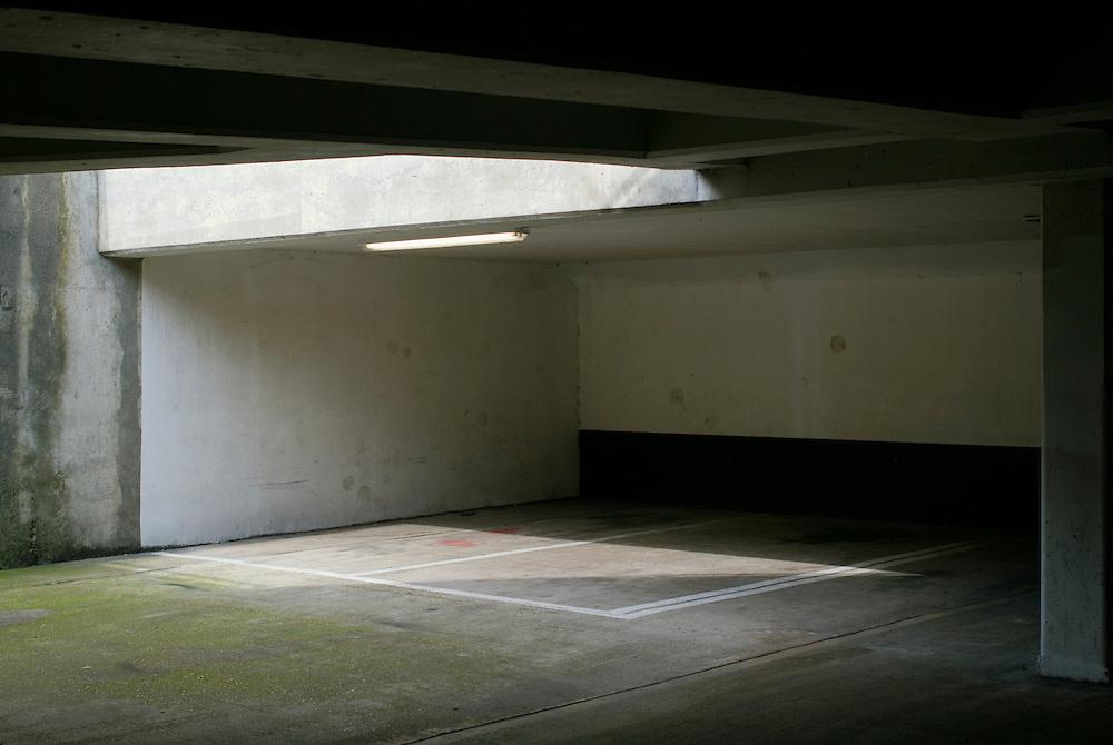 Empty underground parking spaces.