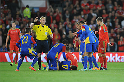Victor Moreira of Andorra goes down injured - Mandatory byline: Dougie Allward/JMP - 07966 386802 - 13/10/2015 - FOOTBALL - Cardiff City Stadium - Cardiff, Wales - Wales v Andorra - European Qualifier 2016 - Group B