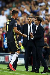 September 19, 2018 - Valencia, Spain - Cristiano Ronaldo of Juventus reacts after get a red card and Marcelino Garcia Toral  talk whit  he  during the Group H match of the UEFA Champions League between Valencia CF and Juventus at Mestalla Stadium on September 19, 2018 in Valencia, Spain. (Credit Image: © Jose Breton/NurPhoto/ZUMA Press)