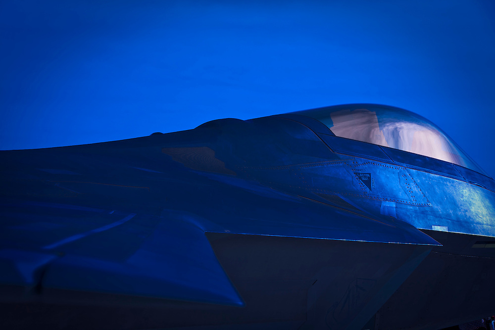 "F-22 ""Raptor"" on the ramp at Nellis Air Force Base, near Las Vegas, Nevada."