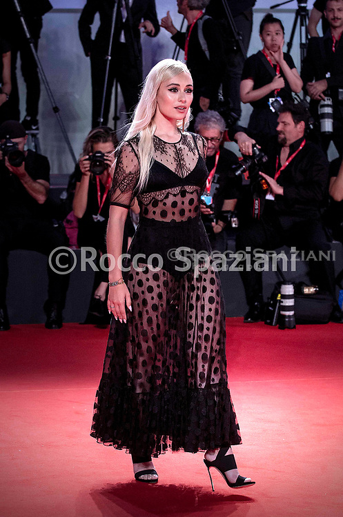 """VENICE, ITALY - SEPTEMBER 02: A guest attends """"The King"""" red carpet during the 76th Venice Film Festival at Sala Grande on September 02, 2019 in Venice, Italy."""