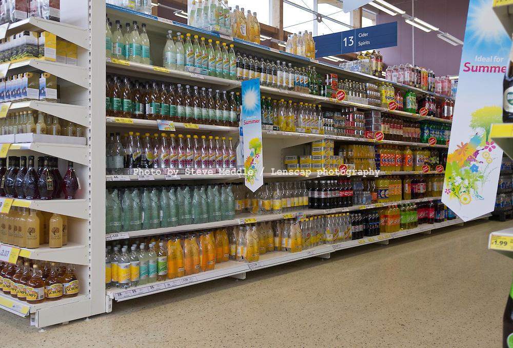 Drinks Aisle, Tesco Supermarket.