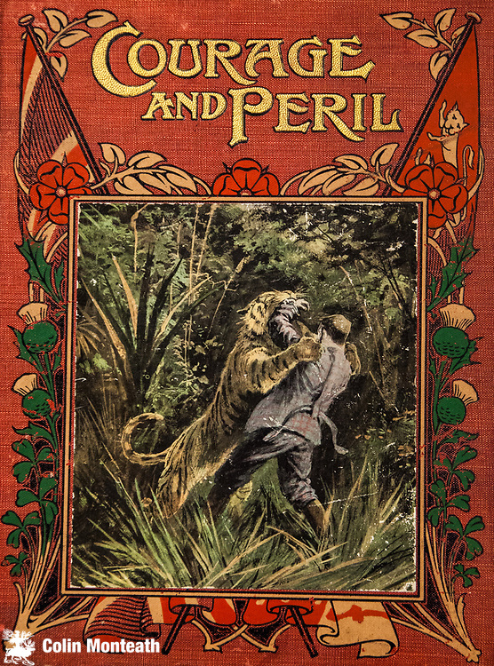 Courage and Peril, man attacked by tiger, cover of adventure book 1930.