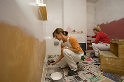 Students on Painting and Decorating course at Barnet College North London