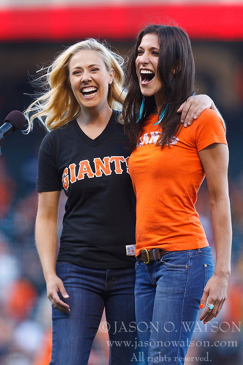 SAN FRANCISCO, CA - JUNE 08:  San Francisco Giants fans Shawna Ferris and Ellen Toscano sing the national anthem before an interleague game against the Texas Rangers at AT&T Park on June 8, 2012 in San Francisco, California. (Photo by Jason O. Watson/Getty Images) *** Local Caption *** Shawna Ferris; Ellen Toscano