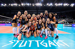 12.06.2018, Porsche Arena, Stuttgart<br /> Volleyball, Volleyball Nations League, Türkei / Tuerkei vs. Niederlande<br /> <br /> Jubel Niederlande nach Sieg<br /> <br /> Foto: Conny Kurth / www.kurth-media.de
