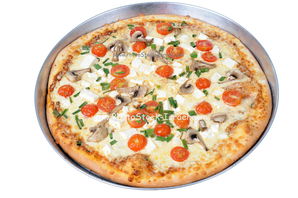 A try of freshly backed tomato pizza On white Background