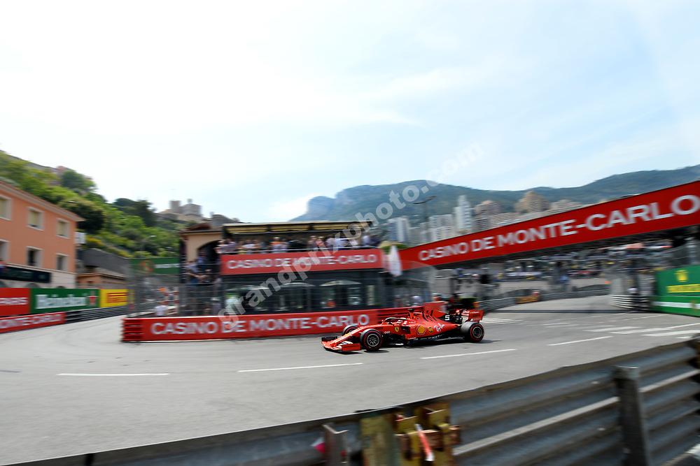 Sebastian Vettel (Ferrari) during qualifying for the 2019 Monaco Grand Prix. Photo: Grand Prix Photo