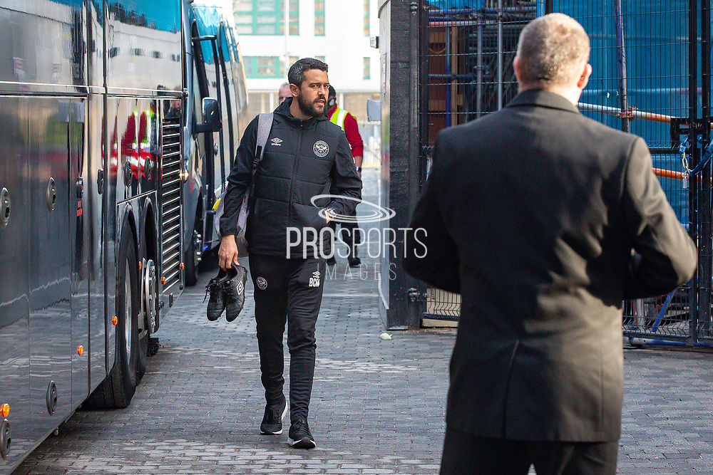 Brentford tactical statistician Bernardo Cueva arrives before the EFL Sky Bet Championship match between Brentford and Middlesbrough at Brentford Community Stadium, Brentford, England on 7 November 2020.