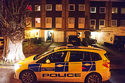 © Licensed to London News Pictures 19/01/2021.        Greenwich, UK. Police outside the property. A murder investigation has been launched by police in Greenwich, South East London after a 74 year old man was found with a knife injury inside a residential property. He was pronounced dead at the scene. Photo credit:Grant Falvey/LNP