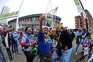 a group of female Fiji rugby fans pose for a selfie outside the stadium. Rugby World Cup 2015 pool A match, Australia v Fiji at the Millennium Stadium in Cardiff, South Wales  on Wednesday 23rd September 2015.<br /> pic by  Andrew Orchard, Andrew Orchard sports photography.