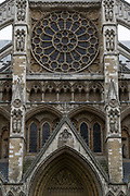 Westminster Abbey on the 3rd October 2019 in London in the United Kingdom. Westminster Abbey, formally titled the Collegiate Church of Saint Peter at Westminster, is a large, mainly Gothic abbey church in the City of Westminster next to the Palace of Westminster.
