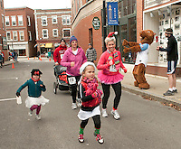 Molly and Olivia Hagan, Brenda Brothwell and Mandy and Ian Hagan join in the fun for the Frozen 5K on Saturday morning to benefit the WLNH Children's Auction.  (Karen Bobotas/for the Laconia Daily Sun)
