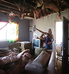 October 8, 2016 - Daytona Beach, Florida, U.S. - The roof was ripped off a Peggy Scharnick's Daytona Beach, Fla., apartment during Hurricane Matthew, forcing her to flee her home in the middle of the storm, on Saturday. (Credit Image: © Charles King/TNS via ZUMA Wire)