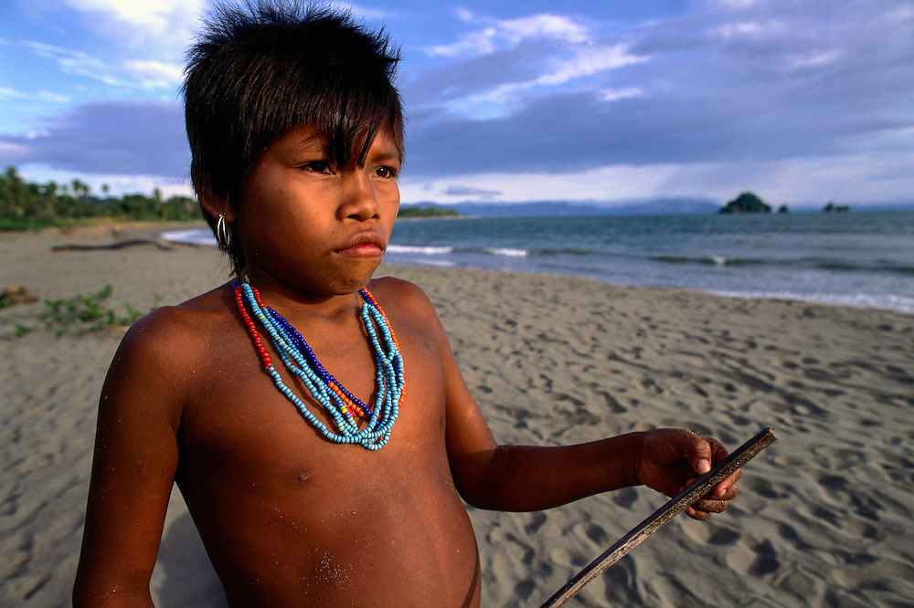 A Choco girl stands on a beach on Colombia's Pacific coast.ca. 2003, Colombia