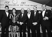 30th Texaco Sportstars of The Year.  (R71)..1988..13.01.1988..01.13.1988..13th January 1988..The Annual Texaco Sportstars awards were held in The Burlington Hotel this evening.The awards were presented by An Taoiseach, Charles Haughey TD..The list of award winners was:.Athletics.           Frank O'Meara..Cycling.             Stephen Roche..Equestrian.        Comdt gerry Mullins..Gaelic football.  Brian Stafford..Golf.                  Eamon Darcy..Horse racing.     Pat Eddery..Hurling.             Joe Cooney..Rugby.               Hugo McNeill..Snooker.            Denis Taylor..Soccer.               Liam Brady..Hall of Fame.      Danny Blanchflower.  (Soccer)...Image shows Stephen and Lydia Roche, Charles Haughey, Danny Blanchflower,Liam Brady and Owen Jenkins (Texaco) on stage at the awards ceremony.