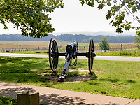 A cannon stands in memorial of the Battle of Gettysburg, Gettysburg National Military Park, Pennsylvania, USA.