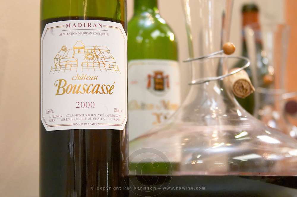 Chateau Bouscasse and a carafe decanter, Madiran, France Madiran France