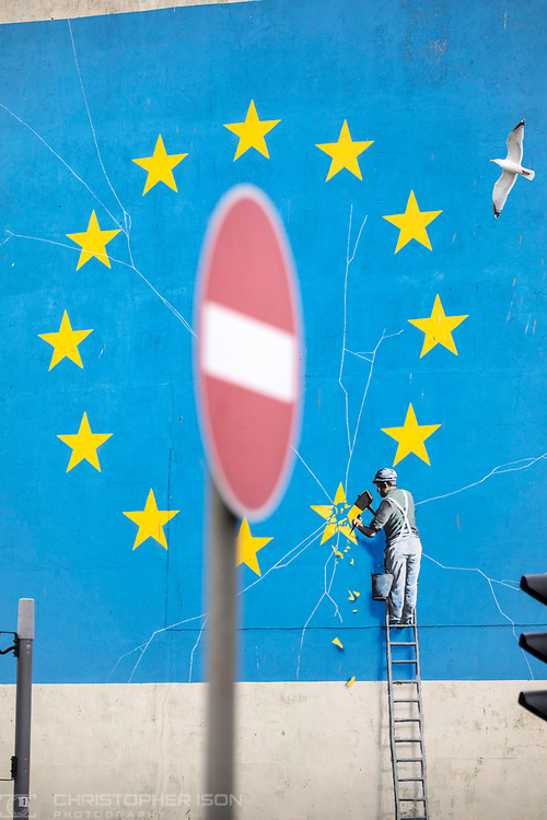 What next for Brexit??<br /> A no-entry sign beside Banksy's famous Brexit mural on the side of a derelict building in Dover. <br /> Prime Minister Theresa May is meeting European leaders today to ask for an extension in the hope of avoiding a no-deal Brexit. <br /> Picture date Wednesday 10th April, 2019.<br /> Picture by Christopher Ison. Contact +447544 044177 chris@christopherison.com