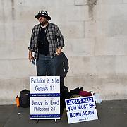 A Christian preacher in Trafalgar Square, London, UK 24 October 2018