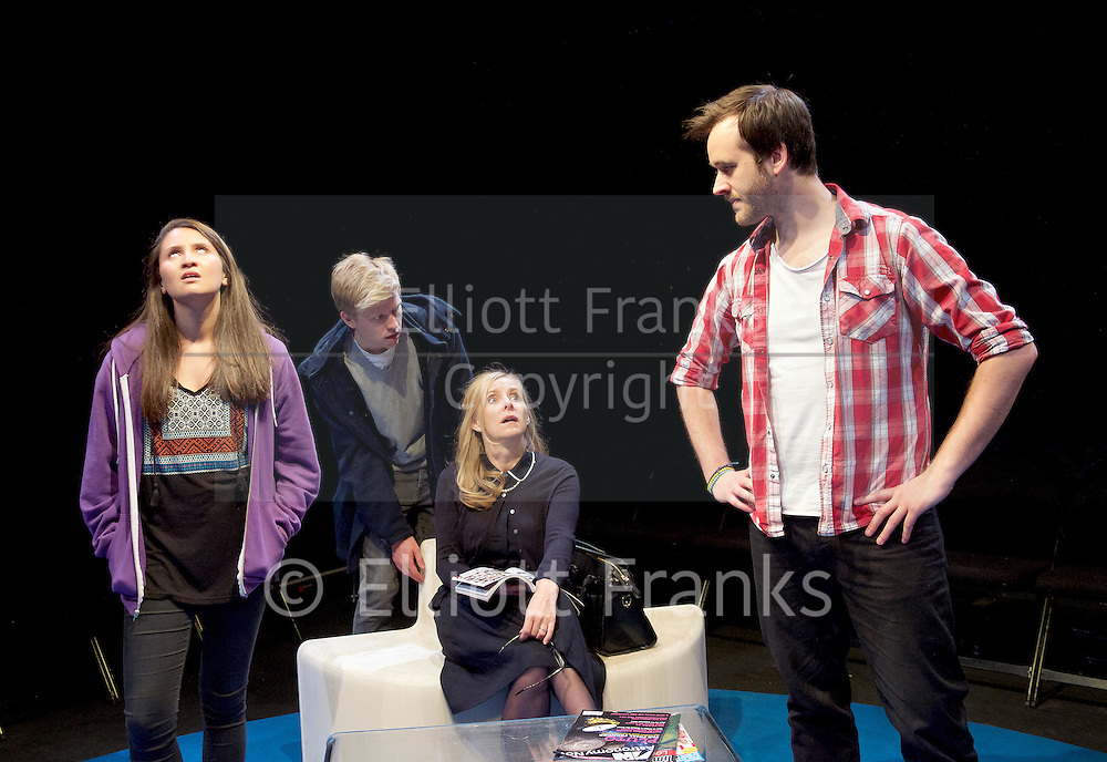 Positive<br /> by Shaun Kitchener <br /> at Park Theatre, Park 90, Finsbury Park, London , Great Britain <br /> 8th July 2015 <br /> press photocall<br /> <br /> directed by Harry Burton <br /> <br /> Nathalie Barclay as Nikki <br /> Timothy George as Benji <br /> Sally George as Margo <br /> Paul Heelis as Greg <br /> <br /> <br /> <br /> <br /> Photograph by Elliott Franks <br /> Image licensed to Elliott Franks Photography Services