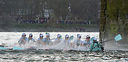 London. UNITED KINGDOM.  CUWBC. blue boat, partially submerged after being over whelmed by the rough water, along Dukes Meadows. The 71st Newton Women's Boat Race on the Championship Course, River Thames, Putney/Mortlake.  Sunday  27/03/2016    [Mandatory Credit. Intersport Images]<br /> <br /> Oxford University Women's Boat Club {OUWBC} vs Cambridge University Women's Boat Club {CUWBC} <br /> <br /> Cambridge, Crew Bow Ashton Brown, 2 Fiona Macklin, 3 Alice Jackson, 4 Thea Zabell, 5 Daphne Martschenko, 6 Myriam Goudet, 7 Hannah Roberts, Stroke Zara Goozee, Cox Rosemary Ostfeld.