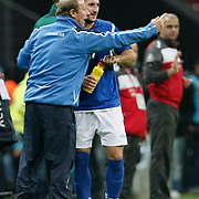 Azerbaijan's coach Berti VOGTS (L) during their UEFA EURO 2012 Qualifying round Group A soccer match Turkey betwen Azerbaijan at TT Arena in Istanbul October 11, 2011. Photo by TURKPIX