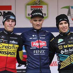 01-01-2020: Wielrennen: DVV trofee veldrijden: Baal:Antoine Benoist wint bij de beloften voor Timo Kielich en Andreas Goeman