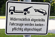 Germany,Bavaria, Munich a tow away zone warning road sign