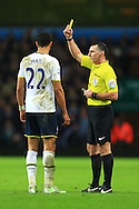 Tottenham's Nacer Chadli is shown a yellow card - Aston Villa vs. Tottenham Hotspurs - Barclay's Premier League - Villa Park - Birmingham - 02/11/2014 Pic Philip Oldham/Sportimage