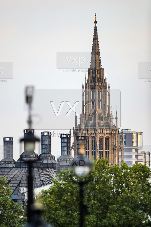 The chapel of the Palace of Westminster in Parliament Square in London, Friday, May 8, 2020, on the 75th anniversary of the end of World War II in Europe. The 75th anniversary of the end of World War II in Europe should be all about parades, remembrances, and one last great hurrah for veteran soldiers who are mostly in their nineties. Instead, it is a time of coronavirus lockdown and loneliness spent in search of memories both bitter and sweet. (Photo/ Vudi Xhymshiti)