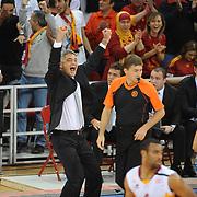 Galatasaray's coach Oktay MAHMUTI (L) during their Euroleague Game 2 basketball match Galatasaray between Unics Kazan at the Abdi Ipekci Arena in Istanbul at Turkey on Thursday, October, 27, 2011. Photo by TURKPIX