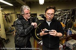 Visit with Keiji Kawakita at his Hot Dock Custom Cycles. (L>R) Harley-Davidson head of design Ray Drea and Keiji Kawakita. Tokyo, Japan. Wednesday, December 10, 2014. Photograph ©2014 Michael Lichter.