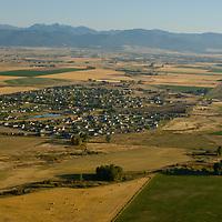 Aerial view of fields and a housing developement near Bozeman, Montana.