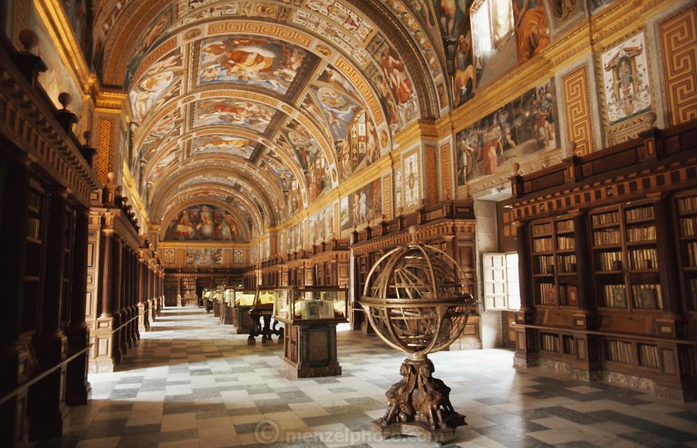Interior of the library at El Escorial, Spain.