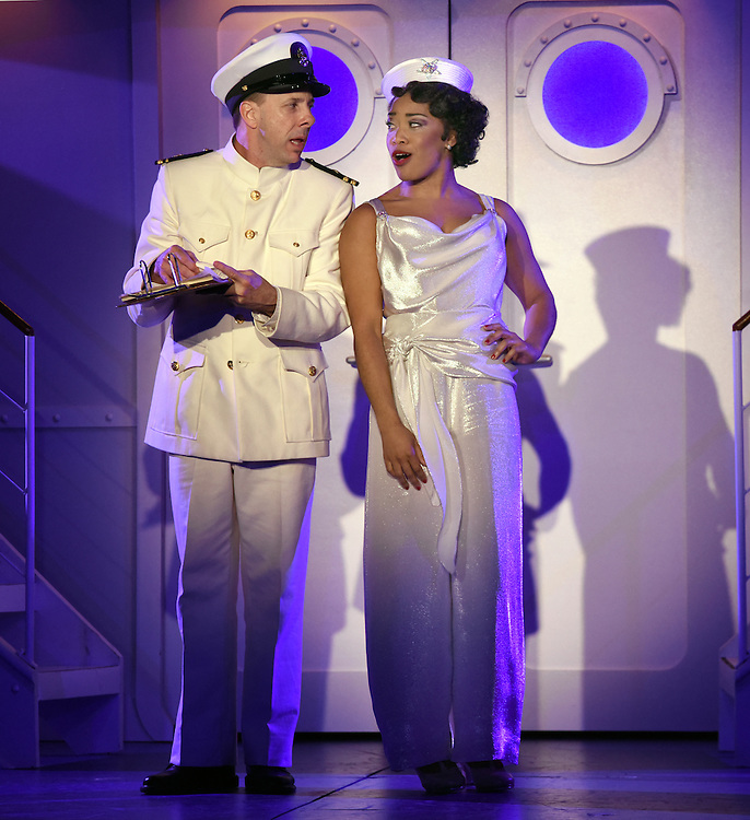 """April 7, 2016, East Haddam, CT<br /> Mara Lavitt -- Special to the Hartford Courant<br /> The run-through of  the classic Cole Porter musical """"Anything Goes"""" being performed at Goodspeed Musicals in East Haddam. Patrick Richwood as the Purser and Rashidra Scott as Reno Sweeney."""
