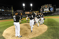 CHICAGO - AUGUST 27:  Andruw Jones #25 and Alexei Ramirez #10 of the Chicago White Sox celebrate with teammates after the game against the New York Yankees on August 27, 2010 at U.S. Cellular Field in Chicago, Illinois.  The White Sox defeated the Yankees 9-4.  (Photo by Ron Vesely)