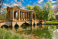 The Palladian Bridge, 1774 , designed by James Gibbs over the lake  in the English landscape gardens of Stowe, designed by Capability Brown. Buckingham, England .<br /> <br /> Visit our EARLY MODERN ERA HISTORICAL PLACES PHOTO COLLECTIONS for more photos to buy as wall art prints https://funkystock.photoshelter.com/gallery-collection/Modern-Era-Historic-Places-Art-Artefact-Antiquities-Picture-Images-of/C00002pOjgcLacqI