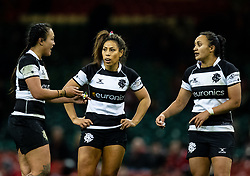 Ariana Hira of Barbarians with team-mates Sene Naoupu and Ruahaei Demant<br /> <br /> Photographer Simon King/Replay Images<br /> <br /> Friendly - Wales v Barbarians - Saturday 30th November 2019 - Principality Stadium - Cardiff<br /> <br /> World Copyright © Replay Images . All rights reserved. info@replayimages.co.uk - http://replayimages.co.uk