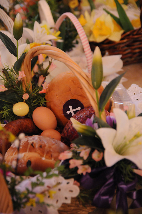 A traditional Catholic Easter Basket is ready for blessing by Francis Cardinal George during a Holy Saturday Blessing of Easter Baskets at  Our Lady, Mother of the Church Polish Mission in Willow Springs.