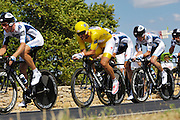 France, Grabels, 7 July 2009: Race leader Fabian Cancellara (Swi) Team Saxo Bank heads out of Grabels during Stage 4 of the 2009 Tour de France cycle race. This stage was the Team Time Trial and started and ended in Montpellier and was 39km long. Photo by Peter Horrell / http://peterhorrell.com .