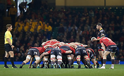 Dragons' Charlie Davies waits to put in to the scrum<br /> <br /> Photographer Simon King/Replay Images<br /> <br /> Guinness PRO14 Round 21 - Dragons v Scarlets - Saturday 28th April 2018 - Principality Stadium - Cardiff<br /> <br /> World Copyright © Replay Images . All rights reserved. info@replayimages.co.uk - http://replayimages.co.uk