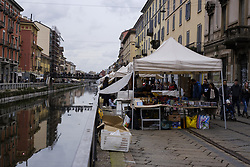 April 28, 2018 - Milan, Italy - Fiera di Sinigaglia Since 1800s the only 'flea market' in Milan, Italy, on April 28, 2018. It is held every Saturday, A typical market,  VintageIf markets and vintage, from antique bags, vinyl records and used bicycles. located in Naviglio Pavese de Mila. Italy. (Credit Image: © Oscar Gonzalez/NurPhoto via ZUMA Press)