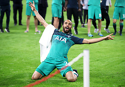 Tottenham Hotspur's Lucas Moura celebrates after the final whistle during the UEFA Champions League Semi Final, second leg match at Johan Cruijff ArenA, Amsterdam.