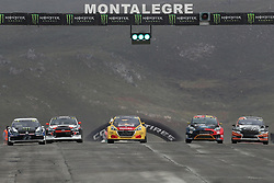 April 29, 2018 - Montalegre, Vila Real, Portugal - Johan KRISTOFFERSSON (SWE) in Volkswagen Polo R of PSRX Volkswagen Sweden (1L), Niclas GRONHOLM (FIN) in Hyundai  i20 of GRX Taneco Team (2L), Kevin HANSEN (SWE) in Peugeot 208 of Team Peugeot  Total (3L), Kevin ERIKSSON (SWE) in Ford Fiesta of Olsbergs MSE (4L) and Janis BAUMANIS (LVA) in Ford Fiesta of Team Stard in action during the World RX of Portugal 2018, at Montalegre International Circuit, on April 29, 2018 in Montalegre, Portugal. (Credit Image: © Dpi/NurPhoto via ZUMA Press)